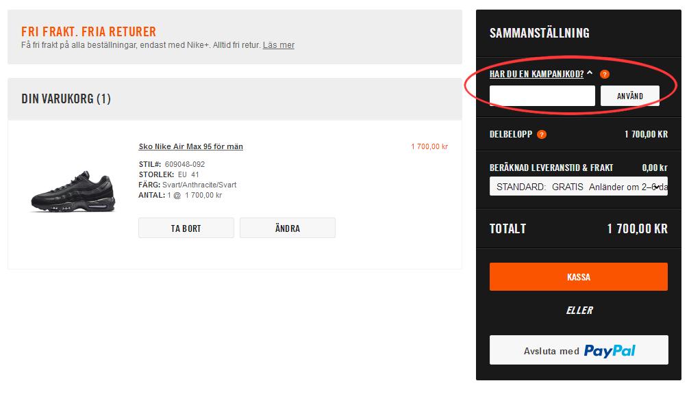 Rabattkod hos Nike